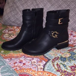 Black GUESS faux leather boots with gold detail